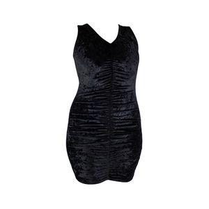 Black Crushed Velvet Mini Dress Goth Style